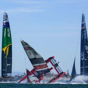 Great Britain SailGP Team helmed by Ben Ainslie capsize during the final race on Race Day 2.Photo: Thomas Lovelock for SailGP.
