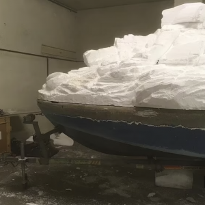 Berthier used mostly polystyrene and epoxy resin to transform an old vessel into what appears to be a rock formation