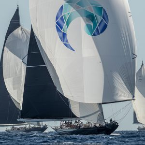 The magnificent J Topaz holds a perfect scoreline so far with Velsheda up to third in IRC 2. Photo Gilles Martin-Raget / Les Voiles de Saint-Tropez